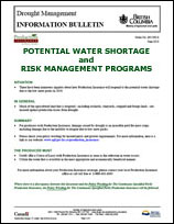 Potential water shortage and risk mgmt programs