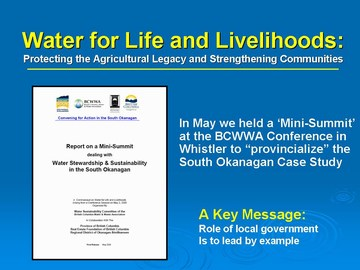 Whistler min-summit: water for life & livelihoods