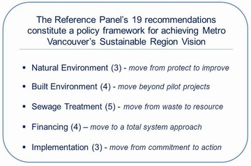 Metro van reference panel - recommended policy framework