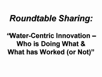 WIC workshop - roundtable sharing, sept 2006