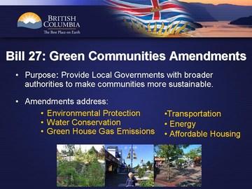 Bill 27 - green legislation (june 2008)