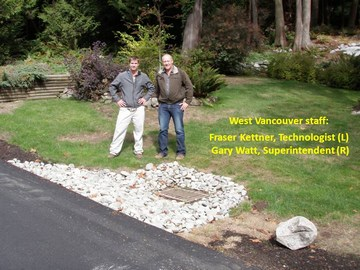 Cherbourg drive in west vancouver - drainage feature implemented by fraser kettner & gary watt