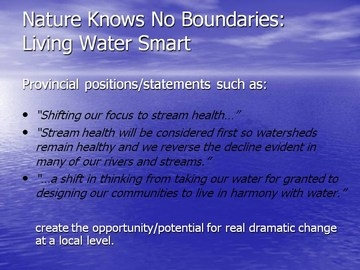 Nature knows no boundaries - living water smart