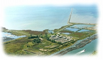 Aerial view of iona island sewage treatment plant (360p)