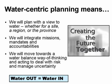 Water-Centric planning (dec 2006)