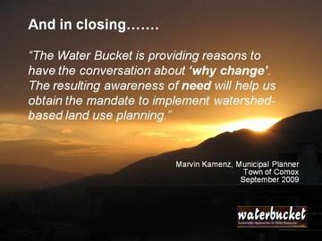 Water bucket - testimonial by marvin kamenz