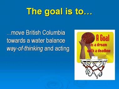 The goal_towards a water balance